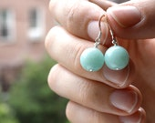 Baby Blue Amazonite Dangle Earrings . Sterling Silver . Natural Gemstone . Shabby Chic . Simple Drops - Antigua Collection