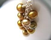 Golden Pearl Earrings . Long Pearl Earrings . Pearl Cluster Earrings . Gold Pearl Earring . Freshwater Pearl Earring - California Collection