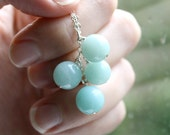 Amazonite Necklace . Baby Blue Stone Necklace Chunky Pendant . Sterling Silver Chain Necklace . Mod Jewelry - Antigua Collection