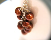 RESERVED Custom Rust Red Pearl Bridesmaid Jewelry . Personalized Wedding Necklaces