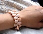 Pale Pink Bracelet . Pink Gemstone Bracelet . Pink Bridal Cuff . Light Pink Flower Petal Bracelet . Big Pink Bracelet - Ditto Collection