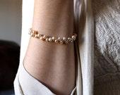 Champagne Pearl Bracelet . Cream Freshwater Pearl Bracelet . June Birthstone Jewelry . Pearl Bridal Bracelet Wedding - Plath Collection