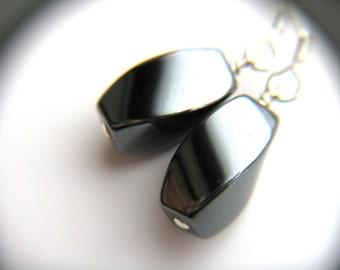 Healing Stone Jewelry for Anxiety Relief . Silver Drop Earrings . Hematite Earrings . Metallic Earrings - Ferric Collection