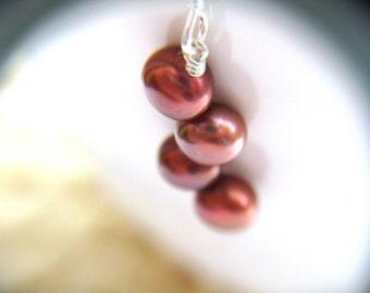 Pink Pearl Earrings . Dainty Pearl Earrings . Pink and Silver Earrings . June Birthstone Jewelry . Pink Dangle Earrings - Siren Collection
