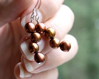 Fall Wedding Jewelry . Autumn Jewelry . Long Pearl Earrings . Chocolate Brown Dangle Earrings . Pearl Wedding Jewelry - Dulce Collection