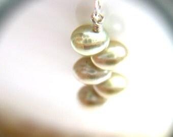 June Birthday Gift . Simple Pearl Earrings . Green Metallic Earrings . Sterling Silver Freshwater Pearl Earrings - Crescent Collection