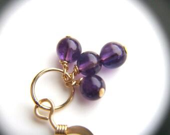Amethyst Dangle Earrings Gold . Deep Purple Earrings . Gemstone Chandelier Earrings . Handmade Jewelry - English Garden Collection . Trio