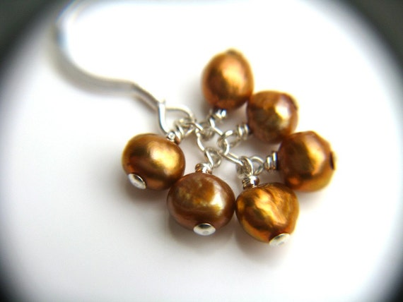 Copper Pearl Cluster Earrings . Simple Pearl Earrings . Dainty Dangle Earrings . Metallic Earrings - Great Gatsby Collection