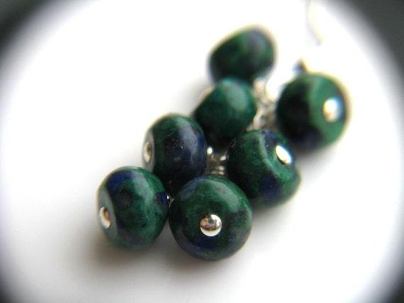 SALE 50% Off - Malachite Azurite Jewelry . Natural Gemstone Cluster Earrings . Green Stone Earrings . Blue Green Earrings - Ancient Earth