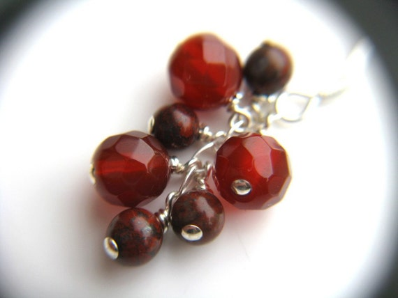 Red Agate Earrings . Red Gemstone Earrings . Cluster Dangle Earrings . Sparkly Earrings . Red Stone Earrings - Goji Collection . Duet