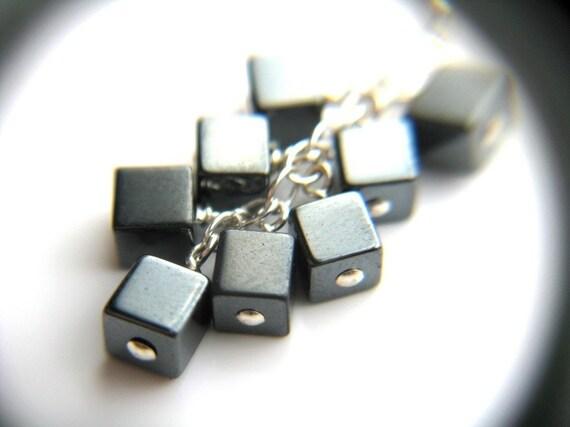 Hematite Earrings . Anti Anxiety Jewelry . Punk Rock Jewelry . Metallic Cube Earrings . Long Silver Dangle Earrings - Ferric Collection