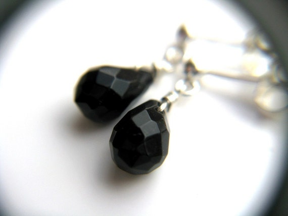 Onyx Stud Earrings . Black Teardrop Earrings . Black Onyx Earrings Small . Black Drop Earrings Sterling Silver Posts - Black Swan Collection