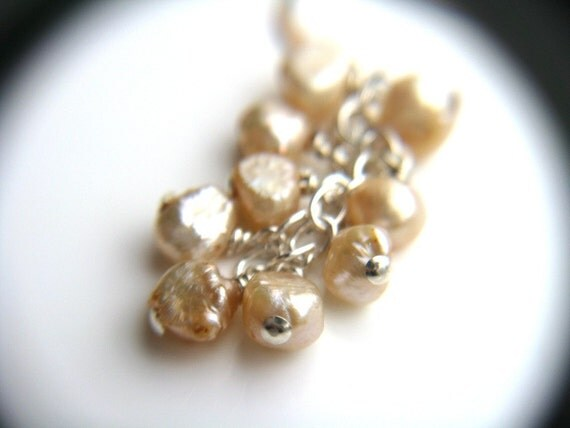 RESERVED Champagne Pearl Earrings . Freshwater Pearl Bridal Jewelry . Vanilla Freshwater Pearl Cluster Earrings Wire Wrapped - Plath