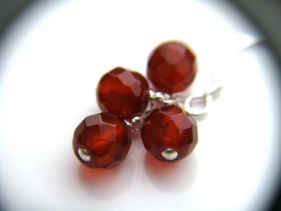 SALE Red Berry Cluster Earrings . Red Agate . Sterling Silver . Natural Gemstone . Christmas Earrings . Sparkly Dangle - Goji Collection
