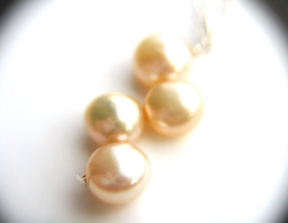 Champagne Pearl Necklace . Cream Pearl Necklace . Champagne Bridal Jewelry . Freshwater Pearl Necklace . Pearl Drop Necklace - Plath