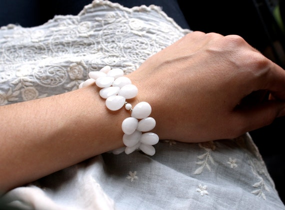 White Jade Stone Cuff Beaded Bracelet . Luxury Bridal Jewelry . Natural Gemstone . Dancing Petals . White Swan Feathers - Heron Collection
