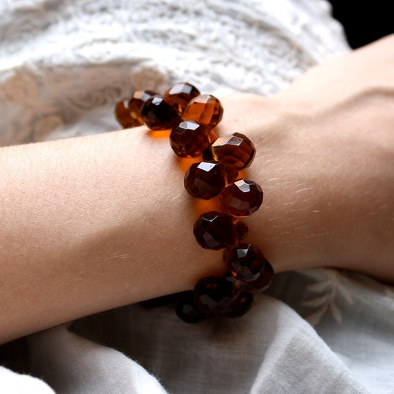SALE 50% Off - Statement Bracelet . Big Amber Bracelet . Brown Teardrop Bracelet . Chunky Bracelet . Glass Beaded Bracelet - Harmony