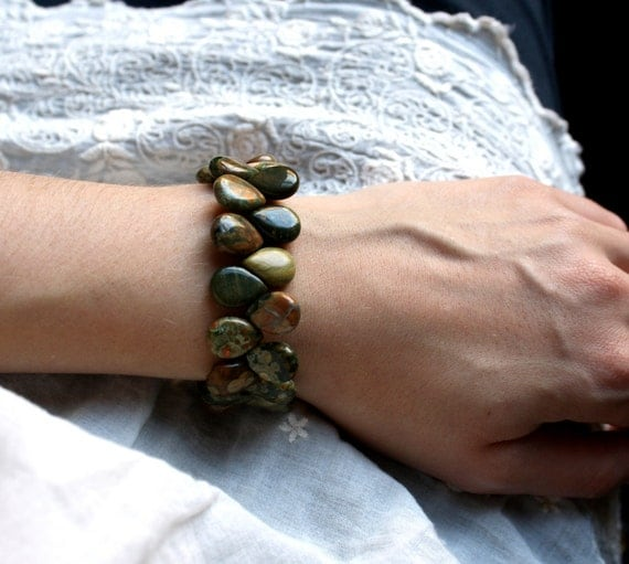 Big Stone Bracelet . Green Stone Bracelet . Brown Beaded Gemstone Bracelet . Heavy Chunky Bracelet . Rhyolite Bracelet - Boa Collection