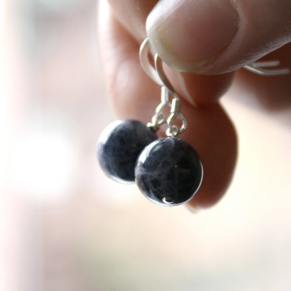 Natural Blue Sodalite Round Dangle Earrings . Smooth Gemstone . Sterling Silver . Earthy Fashion - Cascada Collection . Orb Series