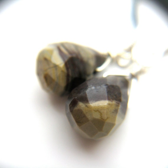 Brown Rock Teardrop Wire Wrapped Earrings . Sterling Silver . Earthy Minimalist . Desert Sand . Small Dangle - Clay Collection