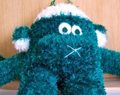 Super Soft and Fuzzy Little Green and White Sock Monkey