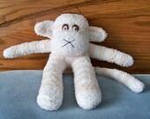 Fuzzy Little White and Tan Striped Sock Monkey