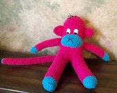 Dark Pink and Bright Blue Sock Monkey