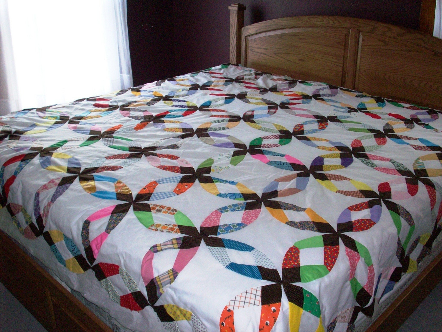 King Size Double Diamond Wedding Ring Hand Stitched Quilt Top
