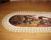 Crochet Table Runner, Trains, Best Doilies, Old Steam Engines, Handmade, Centerpiece, Table Topper, Dress Scarf, Table Cloth, Novelty, Gift