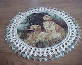 Golden Retrievers Dog Doily Crocheted Edge Fabric Center Doilies Centerpiece