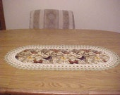 Crocheted Table Runner Butterflies on a Cream Background Centerpiece Home Decor