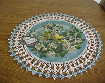 Crocheted Doily, Yellow Canary's , Apple Blossoms, Fabric Center Doily, Crocheted Edge, Centerpiece, Table Topper, Gift