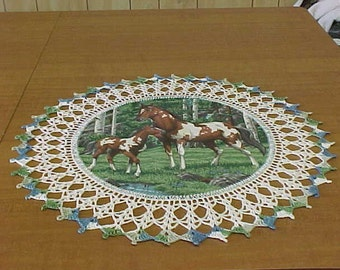Crocheted doilies, Pinto & Colt, horse doily, hand crocheted table doily, Dresser Scarf, table topper, centerpiece doily, Handmade, Gift