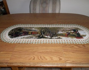 Crocheted Table Runner Trains Old Steam Engines Fabric Center and Crocheted Edge