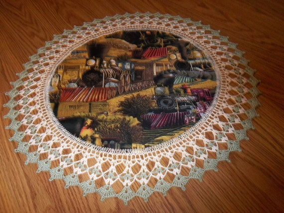 Crocheted Doily Old Steam Engine Trains Large 20 inches