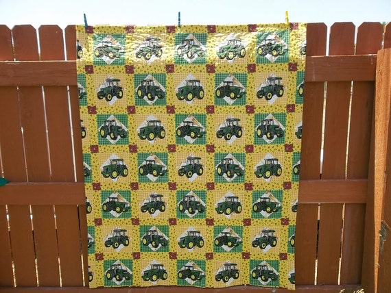 John Deere Quilt, Quilted Throw, John Deer Tractor Quilt, Handmade, Green, Yellow