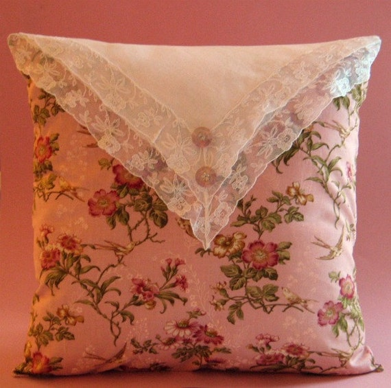 """Cottage Pillow Cover Victorian Love Birds with Linen and Lace 14"""" x 14"""""""