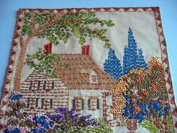 Vintage Hand Embroidered Cottage Garden Wall Hanging