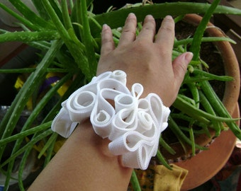Rivulets of Ice White Zipper Bracelet Cuff