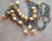 Lariat of Gold Nugget Pearls on Antique Brass Chain