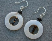 Earrings White Mother of Pearl Donuts with Jet Swarovski Crystals