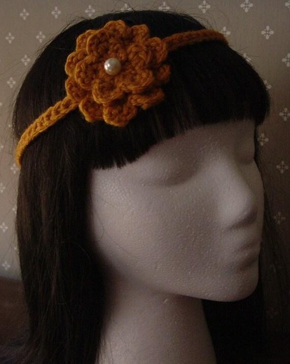 Marigold Yellow Crochet Flower Headband