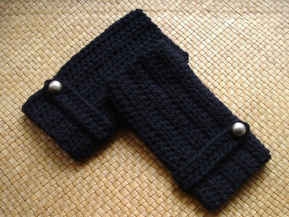 Black Crochet Wrist Warmers with Silver Buttons