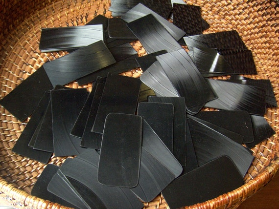 100 Recycled vinyl record business card blanks