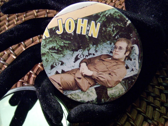 Elton John  - pocket mirror  -   repurposed album sleeve