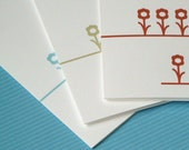 stationery set - stationary set - folded notes - thank you notes -  three flowers in a row stationary