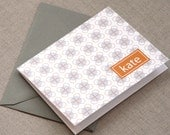 personalized stationery set - personalized stationary set - thank you note - notecard - flower on a dot pattern