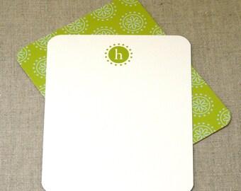 Personalized Stationery Set - personalized stationary set - monogrammed - monogram - preppy - thank you -  pinwheel flower monogram cards
