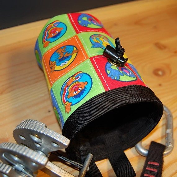 Handmade Grover and Friends Chalk Bag - Rock Climbing