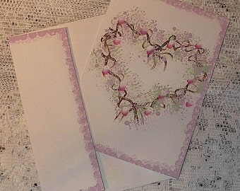 Hand painted card, LILAC HEART card, painted cards, greeting cards, note cards, rustic cards, blank cards, free shipping
